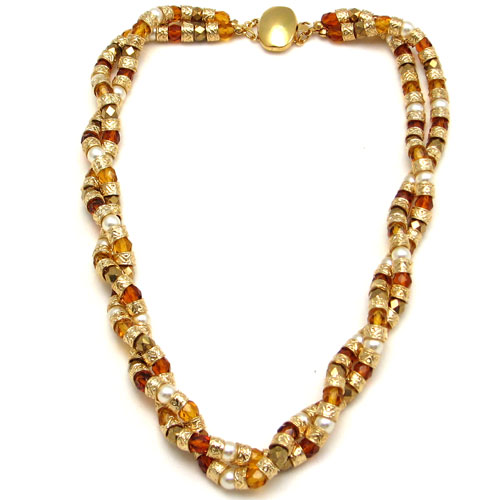 Multi Twist Necklace Amber
