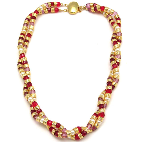 Multi Twist Necklace Red