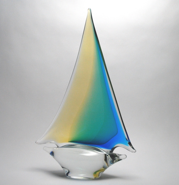 Aqua/Amber Sailboat Large