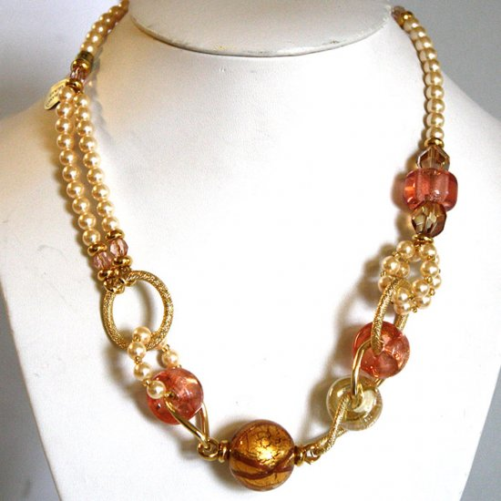 Murano Glass Soft pink and gold  Necklace
