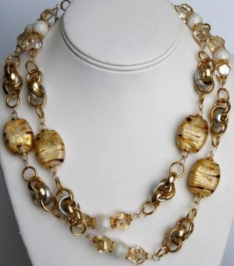 Vintage Murano Glass Beads Necklace White Murano Glass Jewelry Murano Glass Gifts Co