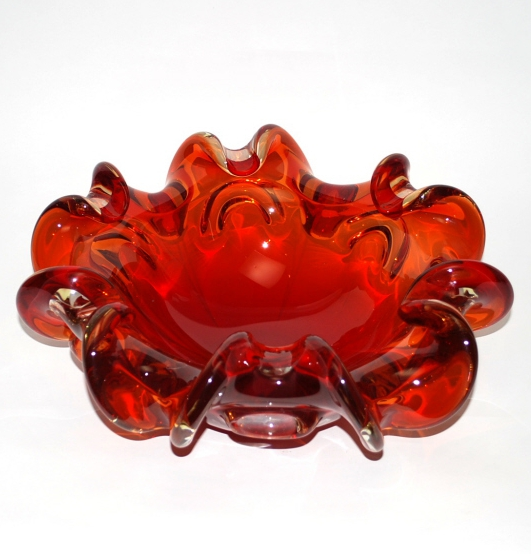 Large Murano Glass Ruby red Bowl