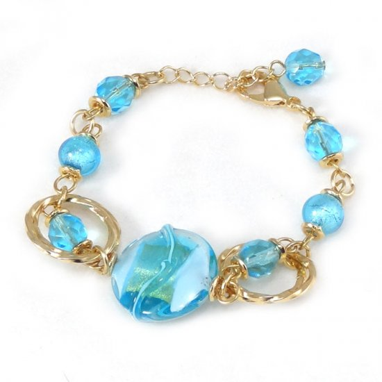 Murano Glass Bracelet Light Blue