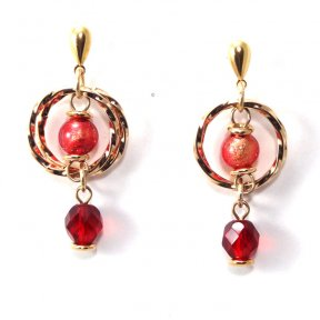 Murano Glass Earrings Red