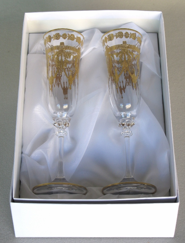 Venetian Medici toasting champagne flutes ( set of 2)
