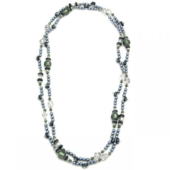 Vintage Bead Necklace Silver and black
