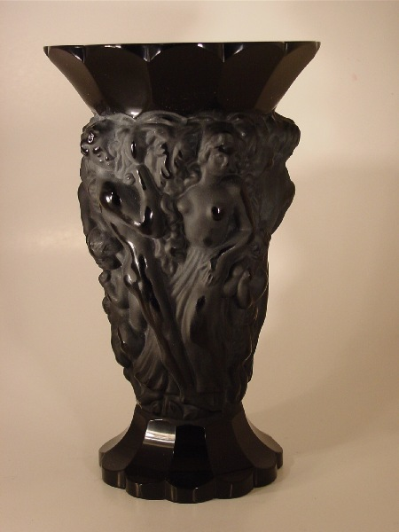 Black frosted crystal vase