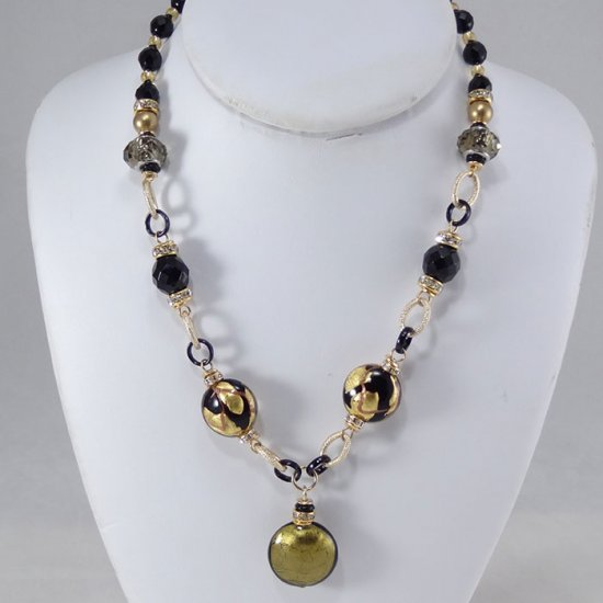 Multiforme Necklace Short Black-Gold