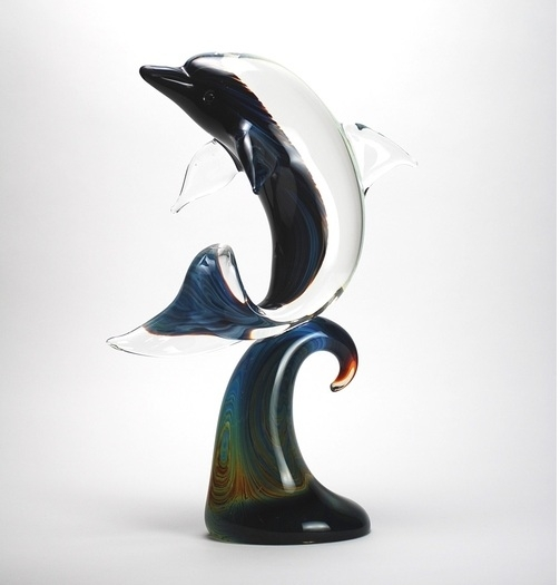 Murano Glass Dolphin on Wave Calcedonia