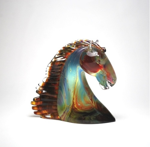 Murano Glass Horse Head Calcedonia