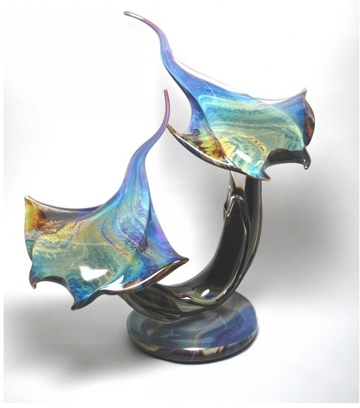 Murano Glass Sea Rays on Base Calcedonia