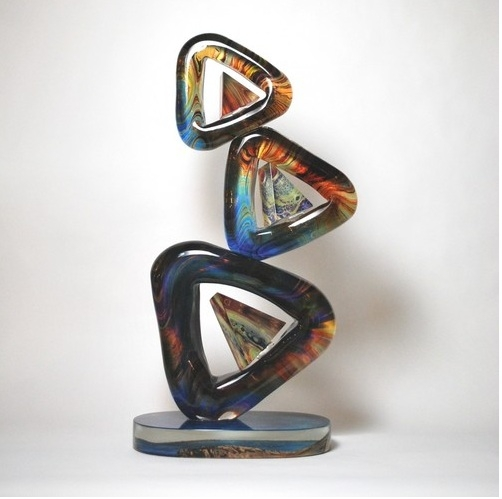 Murano Glass Triangolo Sculpture Calcedonia