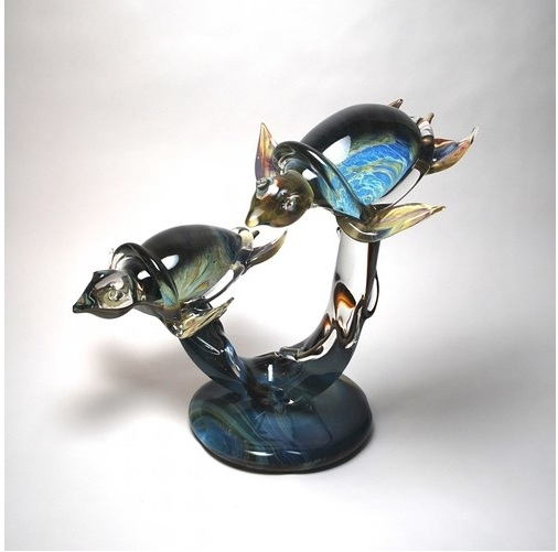Murano Glass Turtles on Base Calcedonia