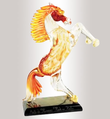 Murano Glass Amber and Gold Horse