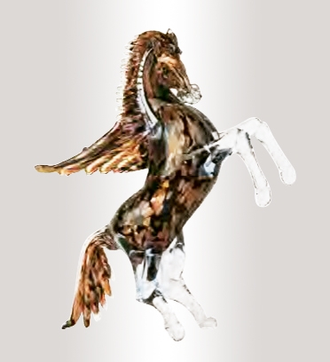 Murano Glass Aventurine/Black Horse With Wings