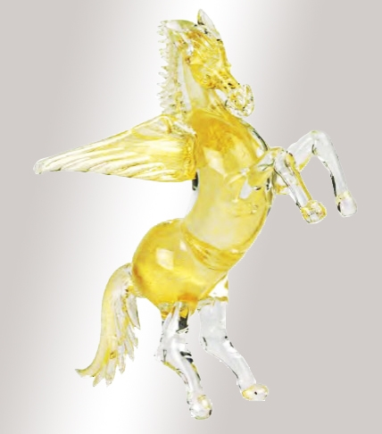 Murano Glass Gold Horse With Wings
