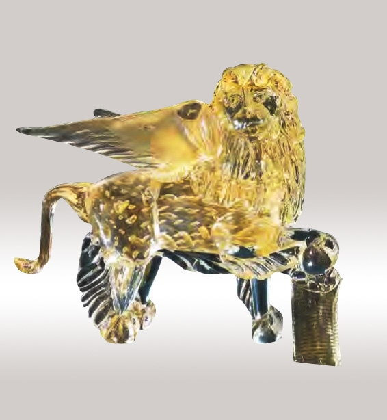 Murano Glass Gold Lion With Bubbles