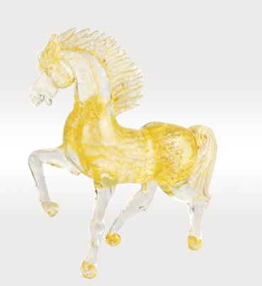 Murano Glass Running Gold Horse