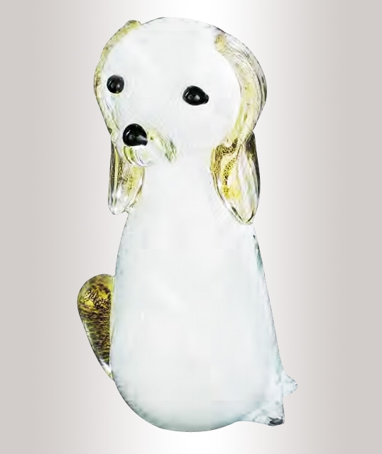 Murano Glass White/Gold Dog