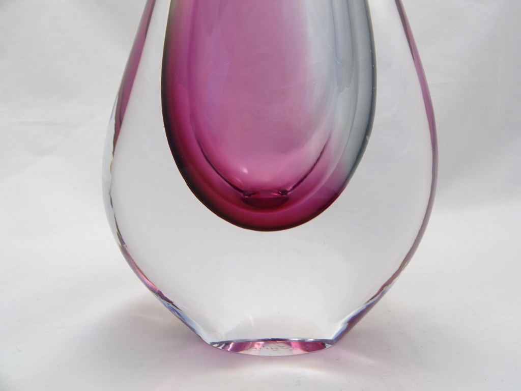 Murano Glass Ruby/Gray Vase