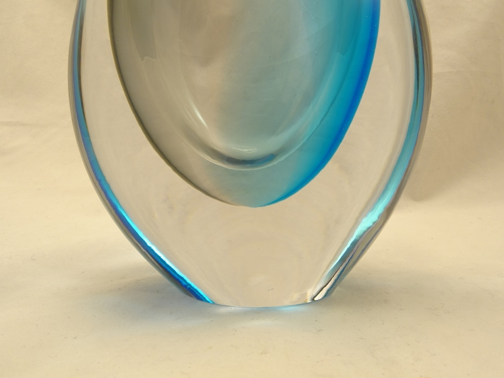 Murano Glass Vase Aqua/Gray
