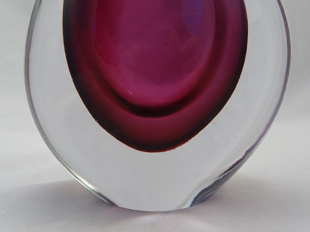 Murano Glass Vase Gray/Ruby