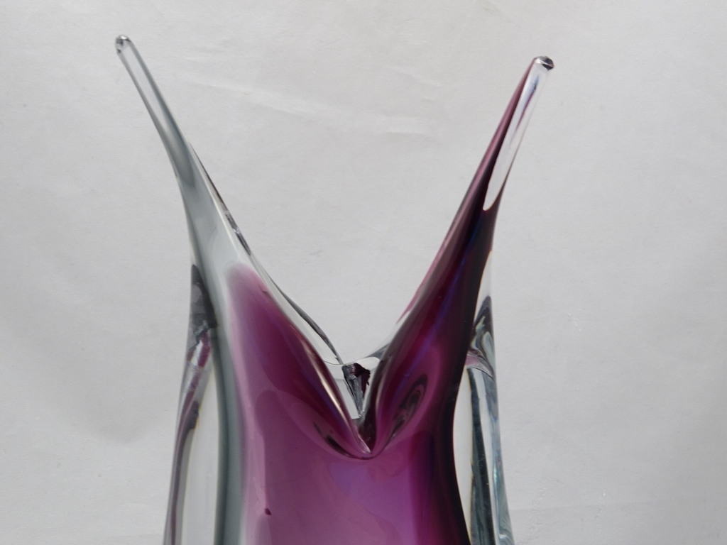 Murano Glass Vase Ruby/Gray