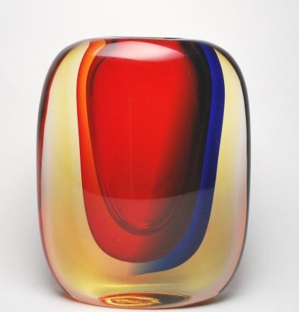 Chromatic Murano Vase Bluerubyamber Murano Glass Murano Glass