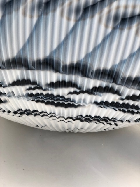 Black Ivory and Silver Murano Glass Folded Bowl