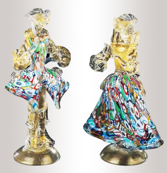 Murano Murrine Glass Couple Figurines