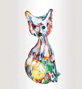 Murrine Glass Multicolor Cat