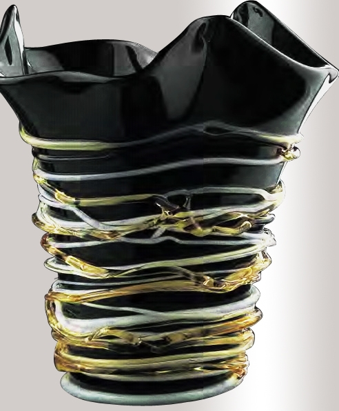 Murano Glass Black/White/Amber Vase