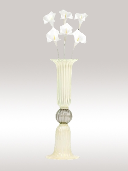 Murano Glass White Gold/Crystal Vase