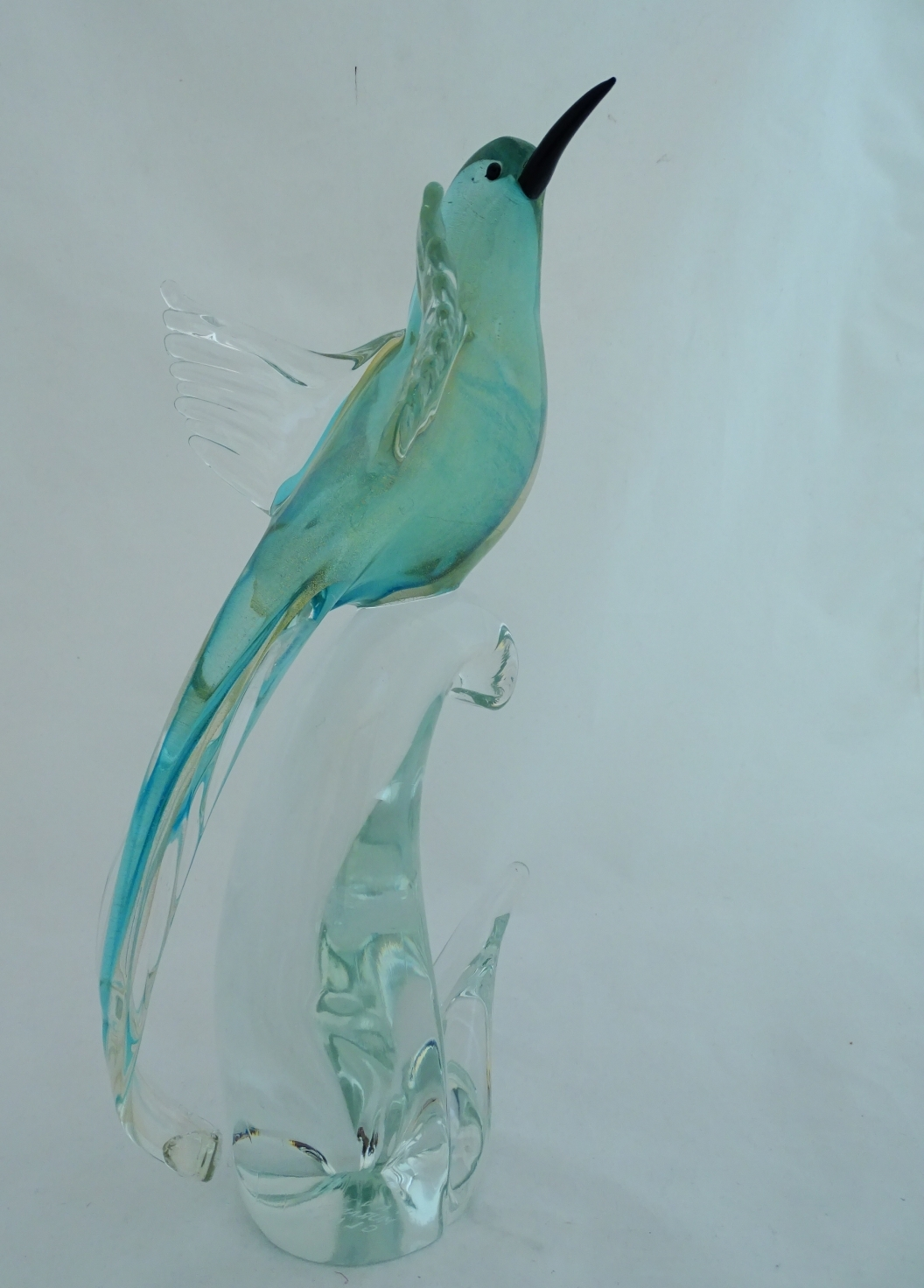 MURANO BIRD OF PARADISE AQUA/GOLD OPEN WINGS