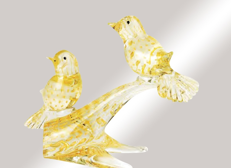 Murano Glass Crystal/Gold Birds On A Branch