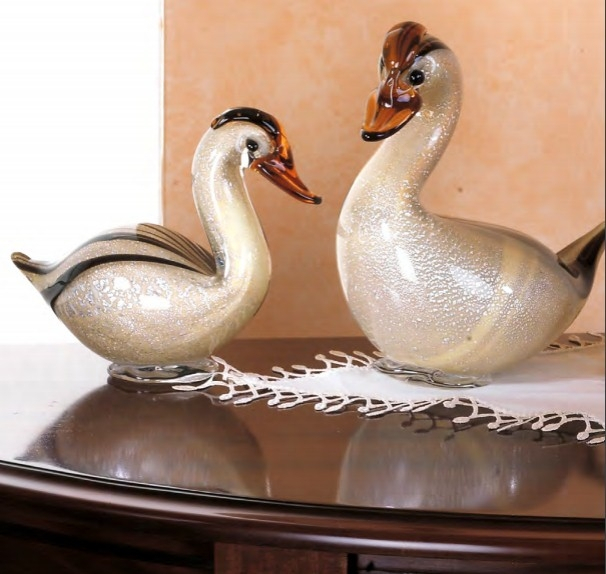 Murano Glass Gold/Amber/Black Duck