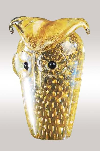 Murano Glass Gold Owl