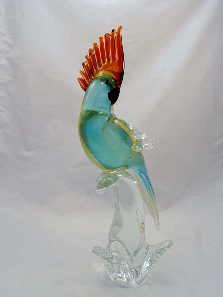 Murano Glass Parrot Aqua/Gold with Amber Crest