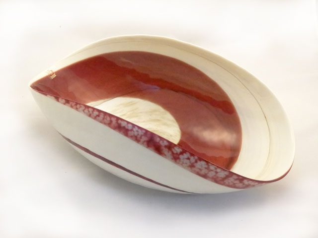 Murano Glass Large Red and Ivory Centerpiece
