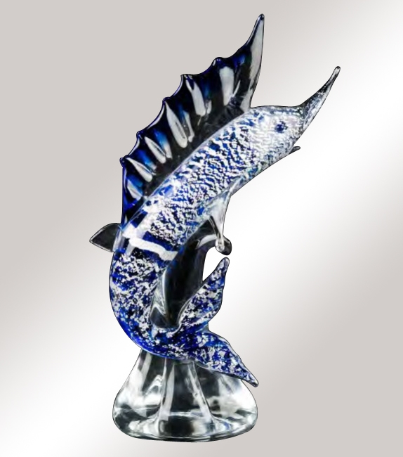 Murano Glass Blue/Silver Fish On Crystal Base