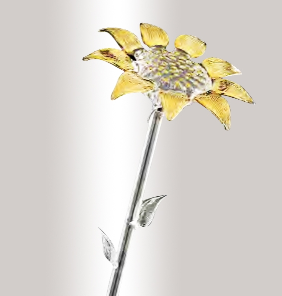 Murano Glass Crystal/Gold Sunflower