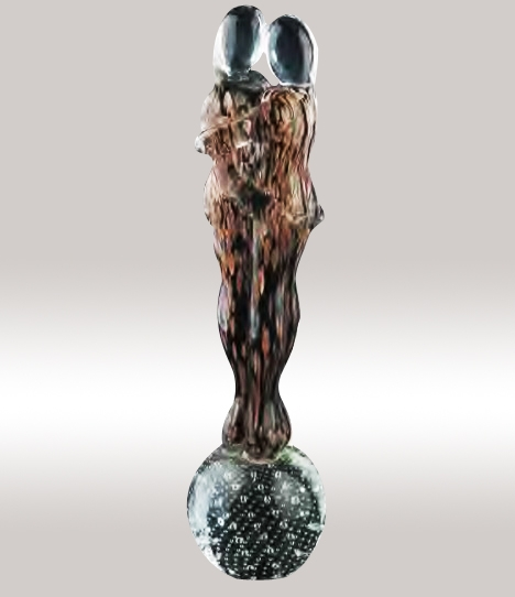 Murano Glass Lovers Figurine Aventurine/Black/Gold