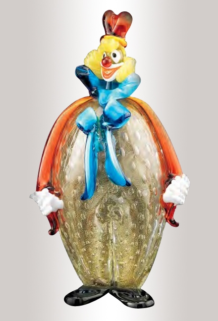 Murano Glass Multicolor Clown With Bow