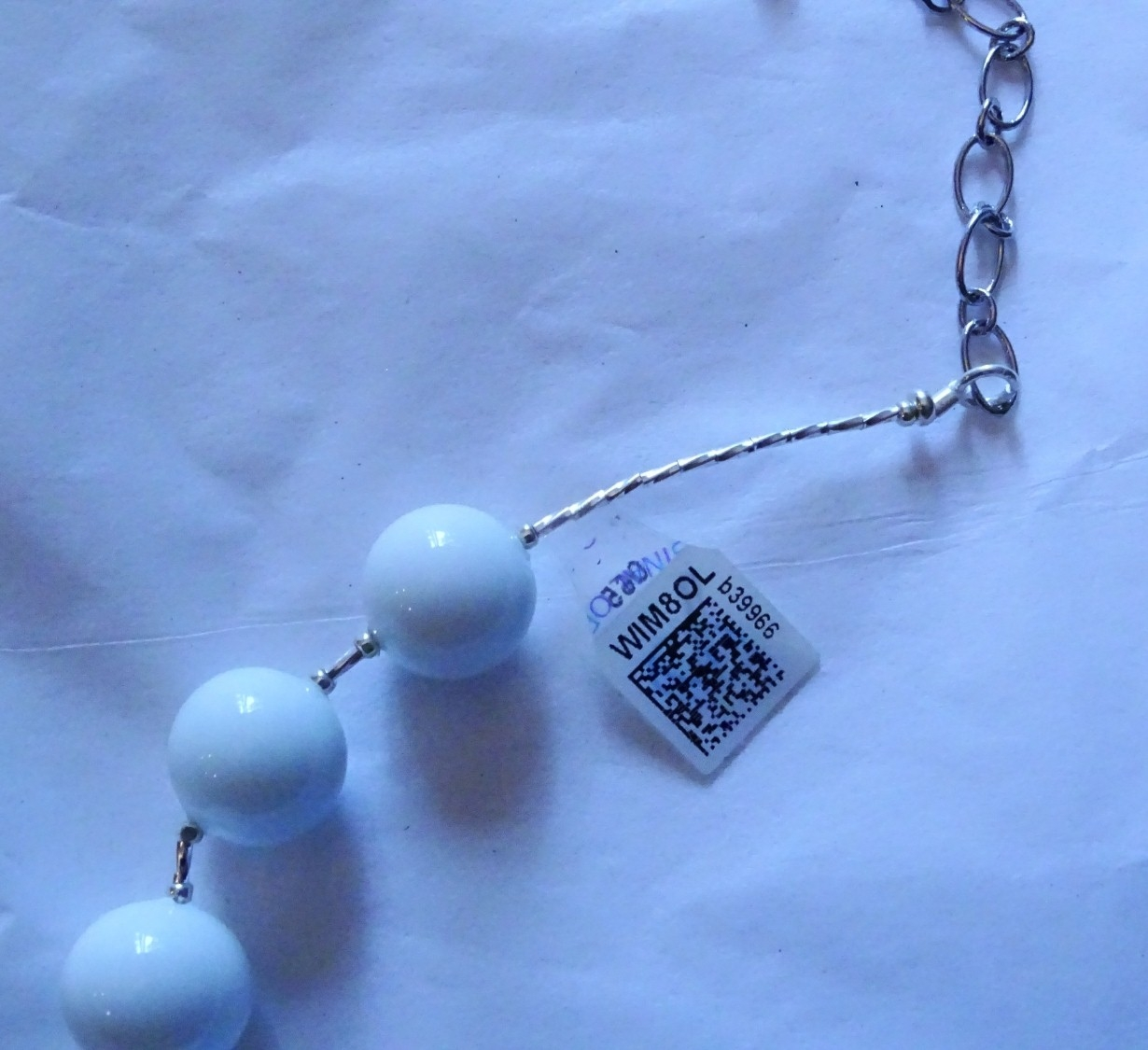 Murano Glass Necklace Matte White