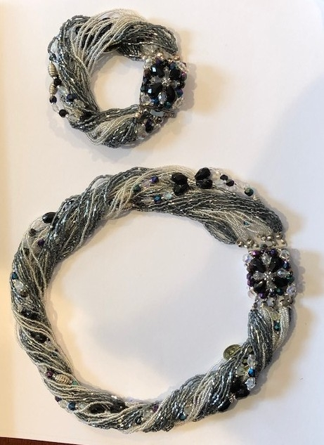 Murano Glass Black and Silver  Bracelet