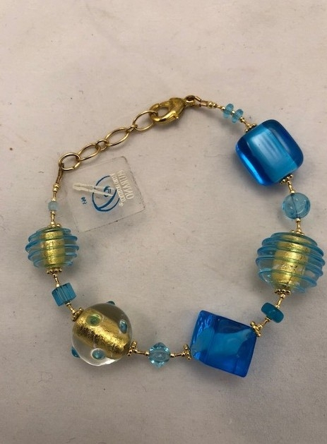Murano Glass Bracelet Blue/Gold