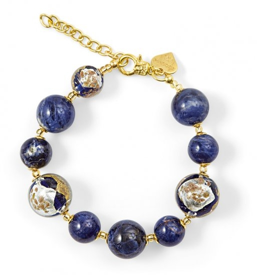Murano Glass Bracelet Blue With Sodalite