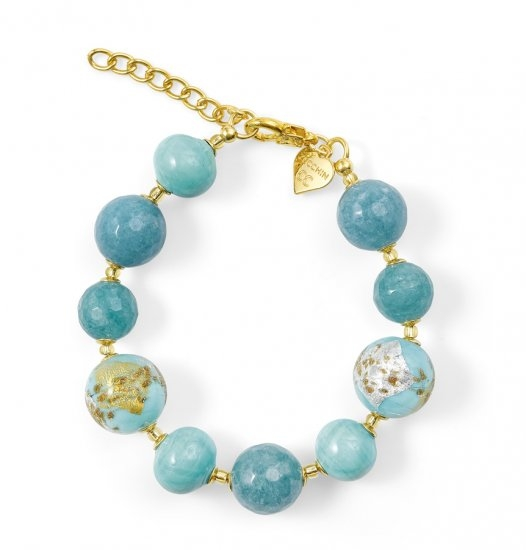 Murano Glass Bracelet Light Blue With Angelite
