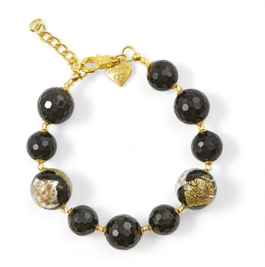 Murano Glass Bracelet With Black Onyx