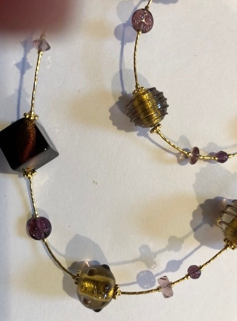 Murano Glass Necklace Amethyst/Gold